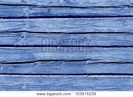 Blue Color Log House Wall.