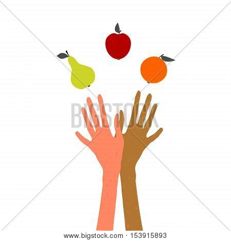Hands juggling fruit vector illustration on the theme of a healthy lifestyle