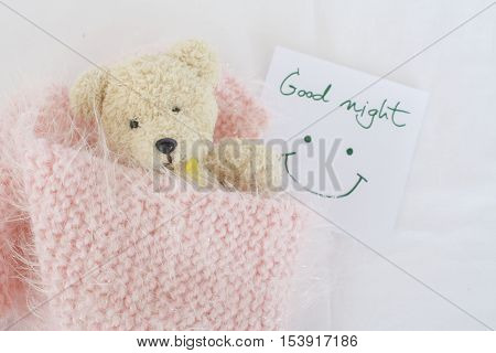 good night message card and teddy bear sleep in pink blanket wool