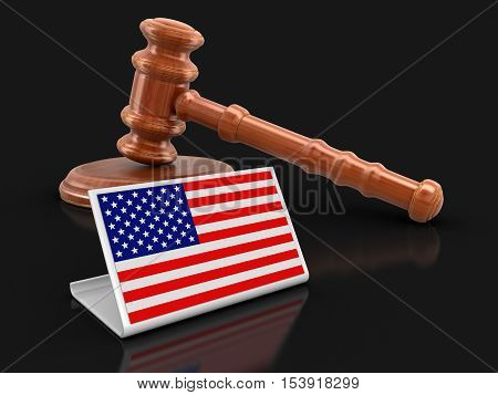 3D Illustration. 3d wooden mallet and US flag. Image with clipping path