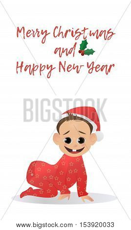 Little fun Santa. Baby Santa Claus. The first Christmas and New Year. Vector illustration. Christmas characters