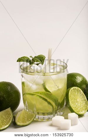 Caipirinha - Brazilian's National Cocktail Made With Cachaca, Sugar And Lemon Or Lime, Isolated On W