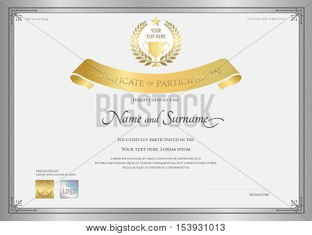 Certificate of participation template in silver border with golden award trophy and laurel on top
