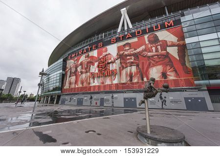 London, the UK - May 2016: View on the Emirates Arena - the  official playground of FC Arsenal