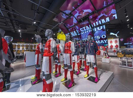 London, the UK - May 2016: In the official store of FC Arsenal