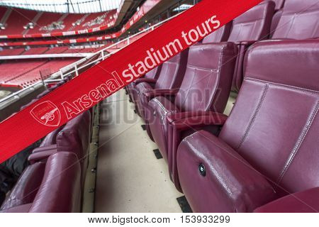 London, the UK - May 2016: Visiting the Emirates stadium -the official arena of FC Arsenal