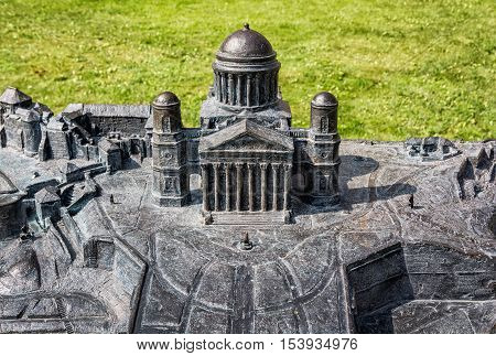 Miniature artistic model of basilica in Esztergom Hungary. Cultural heritage. Travel destination. Architectural theme.