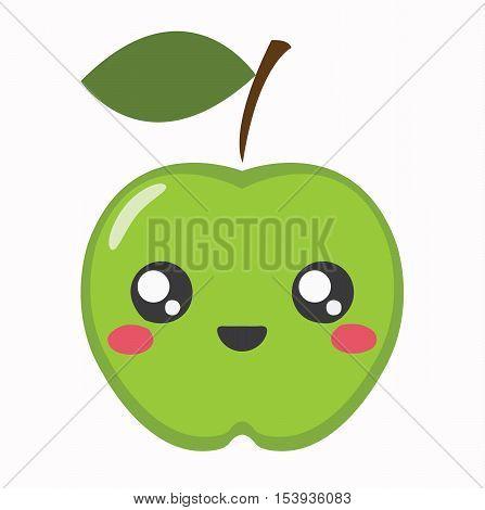 Apple Kawaii Cartoon Cute Icon - Apple Fruit Character Kawaii Flat Isolated Design Vector Illustration Stock