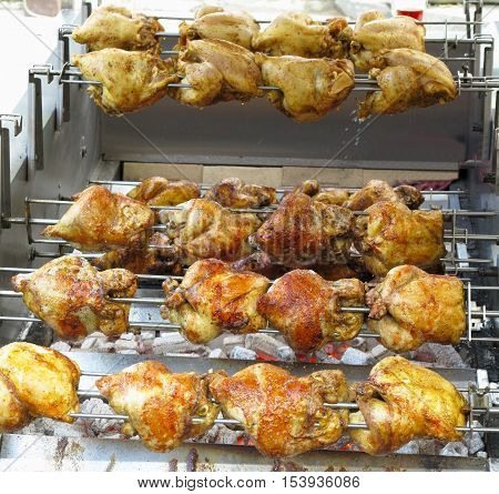 Chickens Barbecue On Grill With Hot Coals