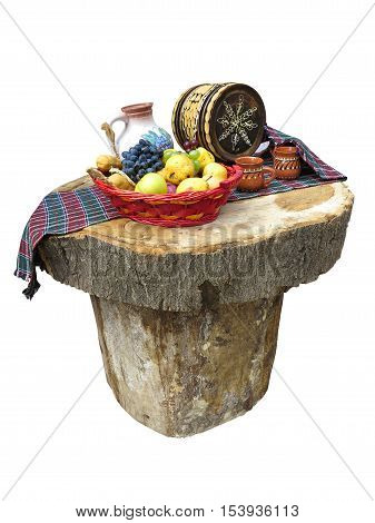 Table Made Of Logs With Fruit Basket And Wine Barrel