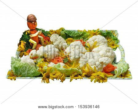 Vegetables On A Tray With Funny Figurine Isolated Over White