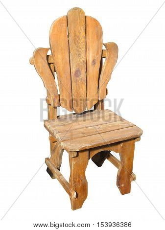 antique hand made wood chair isolated over white background