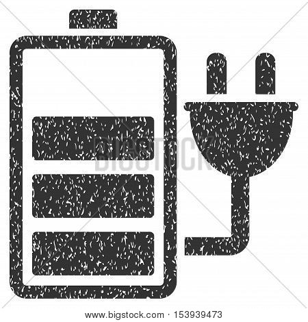 Charge Battery grainy textured icon for overlay watermark stamps. Flat symbol with dust texture. Dotted vector gray ink rubber seal stamp with grunge design on a white background.
