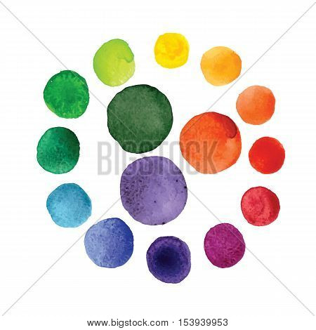 Handmade watercolor texture colorful paint drops color wheel. Isolated watercolor rainbow spectrum spot.