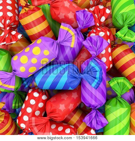 candy background, 3D rendering, colorful candy pattern