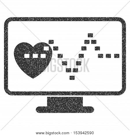 Cardio Monitoring grainy textured icon for overlay watermark stamps. Flat symbol with scratched texture. Dotted vector gray ink rubber seal stamp with grunge design on a white background.