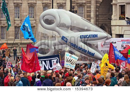 London - March 26: Protesters March Past Trafalgar Square Against Public Expenditure Cuts In A Rally