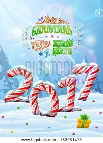 New Year 2017 in shape of candy stick in snow. Winter landscape with candies gift box congratulation. Vector image for new years day christmas sweet-stuff winter holiday new years eve food etc