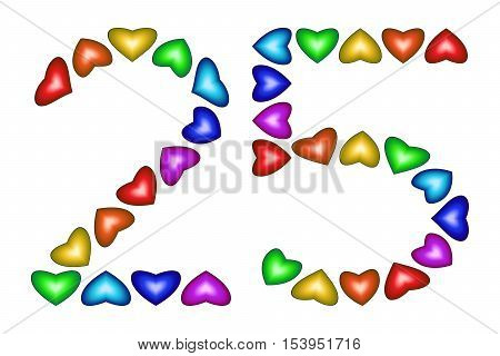 Number 25 of colorful hearts on white. Symbol for happy birthday event invitation greeting card award ceremony. Holiday anniversary sign. Multicolored icon. Twenty five in rainbow colors. Vector