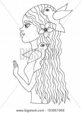 Young beautiful afro American girl with bird and flower on hair. Mono color black line art element for adult coloring book page design.