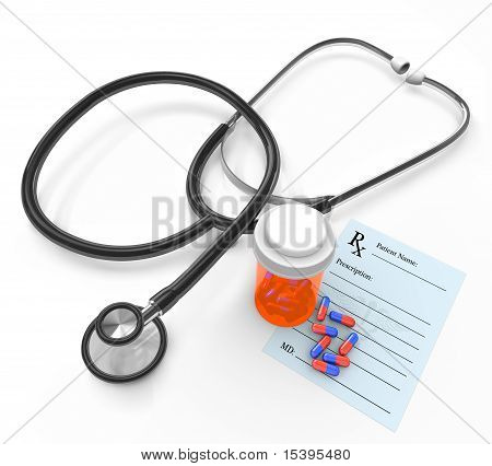 Stethoscope And Prescription - Bottle And Capsules