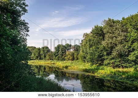 Natural landscape with river, forest and sky with clouds