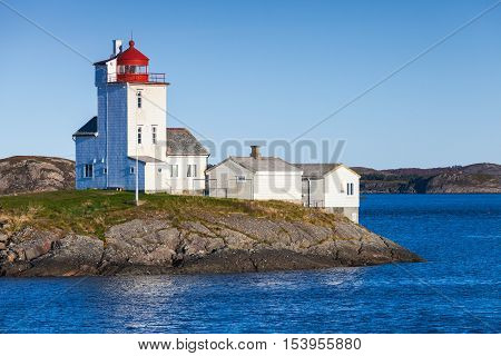 Tyrhaug Lighthouse, White Tower With Red Light