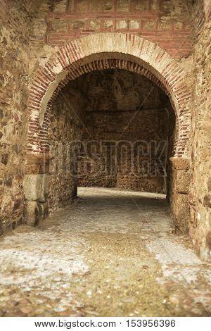 Entrance to Mendoza Castle or Castle of Buitrago de Lozoya, Islamic style (s. XIII and XIV) In the fifteenth century reform family for habitation by the 1st Marquess of Santillana, Inigo de Mendoza.