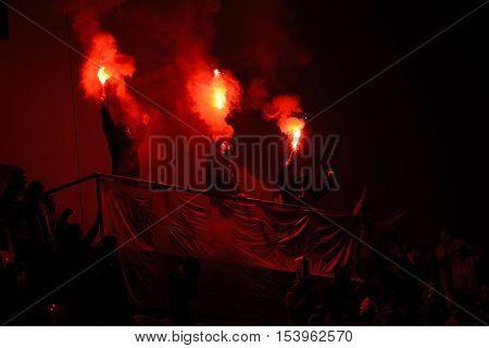 19 / SEP / 2016 _ Tribuna Sever Slavia fans 7.round of Czech soccer league Between SK Slavia Praha and FC Slovan Liberec.