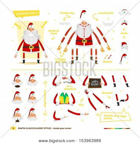 Vector illustration Santa Claus set for animation. Some hands poses with face emotions. Christmas and New Year theme. Classic red apparel style