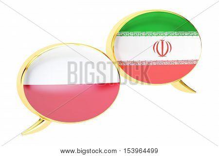 Speech bubbles Iranian-Polish translation concept. 3D rendering