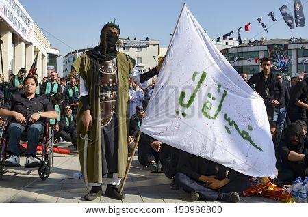 Istanbul Turkey - October 11 2016: Muslims worldwide marks Ashura Istanbul Shiite community. Turkish Shia Muslims mourning for Imam Hussain.