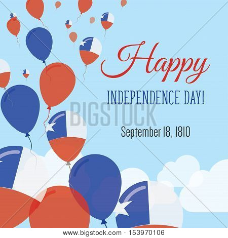 Independence Day Flat Greeting Card. Chile Independence Day. Chilean Flag Balloons Patriotic Poster.