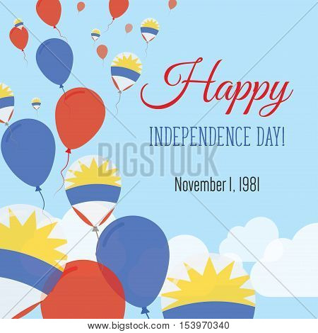 Independence Day Flat Greeting Card. Antigua And Barbuda Independence Day. Antiguan, Barbudan Flag B