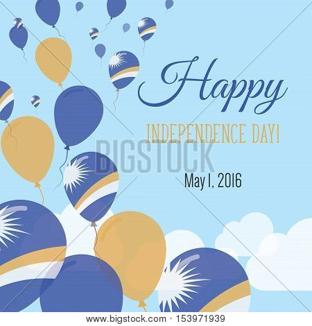 Independence Day Flat Greeting Card. Marshall Islands Independence Day. Marshallese Flag Balloons Pa