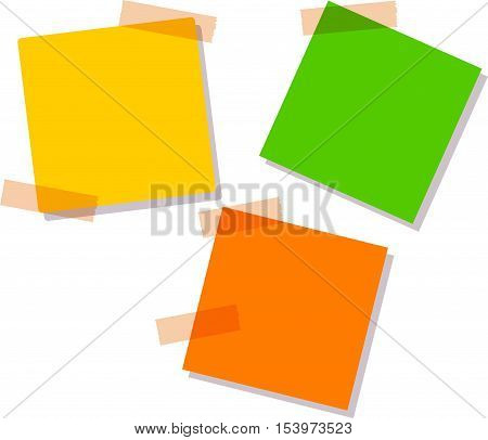 Sticky notes, three different colors. yellow, orange, green. vector illustration, Pattern can be used for your design.