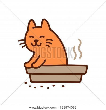 Funny cat pooping in litter box drawing. Cute cartoon vector illustration.