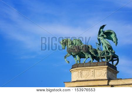 Chariot drawn by two horses at the Heroes' Square in Budapest Hungary