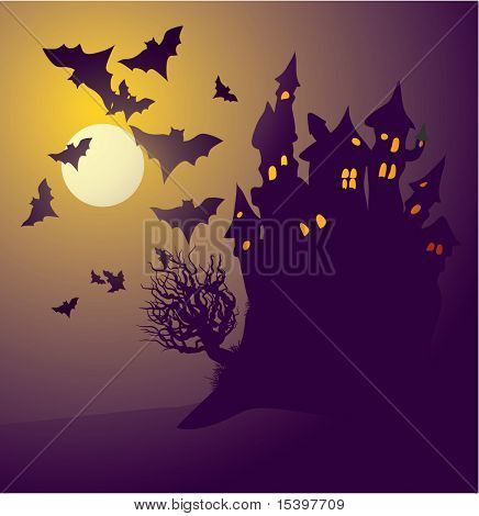 Dark castle. Vector illustration