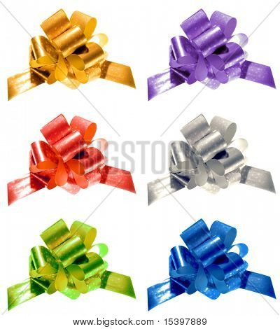 Six Color Christmas Bows isolated on white