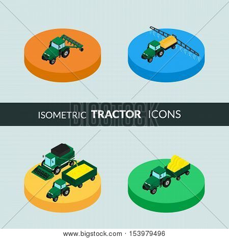 vector illustration. Set of agricultural icons. A tractor with a plow and a trailer with hay. Tractor sprinkles planting insecticides. The harvester harvests. Isometric 3D
