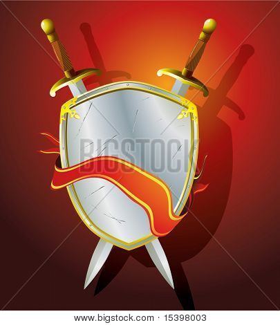 Heraldic shield, sword and banner. Vector illustration.