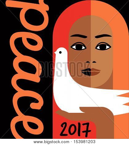 retro style illustration with word peace and girl holding a dove. For posters, cards, banners.