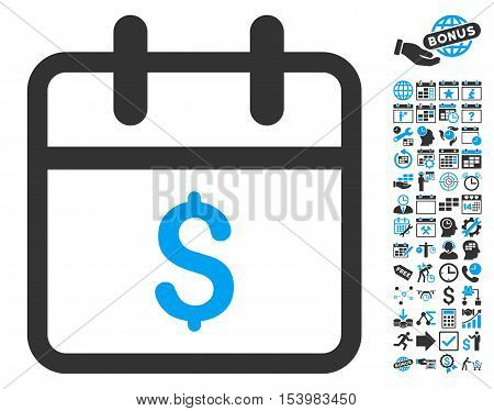 Money Day pictograph with bonus calendar and time management pictograph collection. Glyph illustration style is flat iconic bicolor symbols, blue and gray colors, white background.
