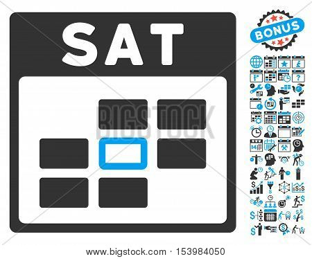 Saturday Calendar Page icon with bonus calendar and time management clip art. Glyph illustration style is flat iconic bicolor symbols blue and gray colors white background.