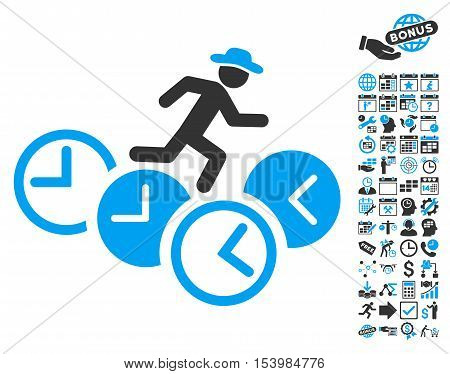 Gentleman Running Over Clocks pictograph with bonus calendar and time management design elements. Glyph illustration style is flat iconic bicolor symbols blue and gray colors white background.