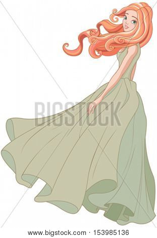 Illustration beautiful girl dressed ball gown in the wind