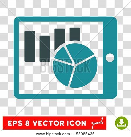 Charts on PDA vector icon. Image style is a flat soft blue pictogram symbol.