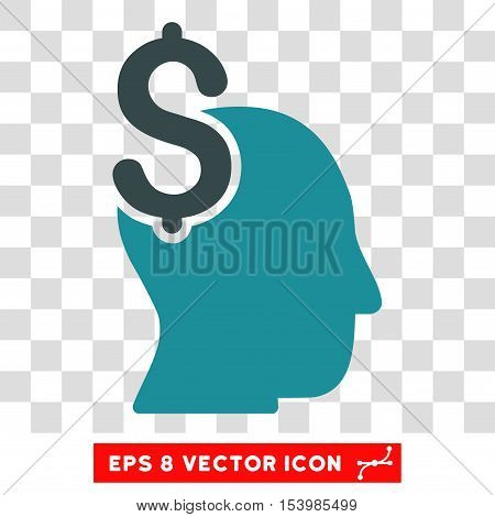 Commercial Intellect vector icon. Image style is a flat soft blue icon symbol.