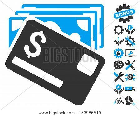 Banknotes and Card icon with bonus tools graphic icons. Glyph illustration style is flat iconic bicolor symbols, blue and gray colors, white background.